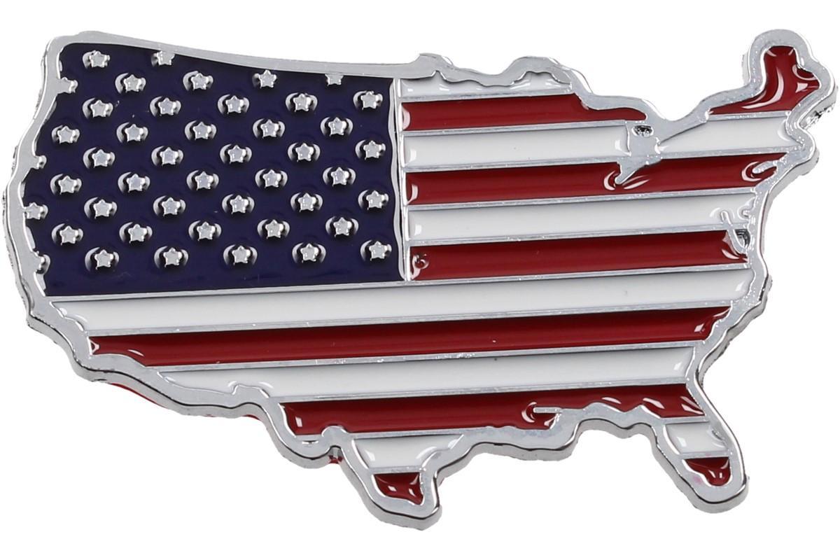 Foto 1 - Kovová samolepka AMERIKA 7cm x 4cm - Kvalitní kovová samolepka pro vylepšení vzhledu vašeho automobilu.