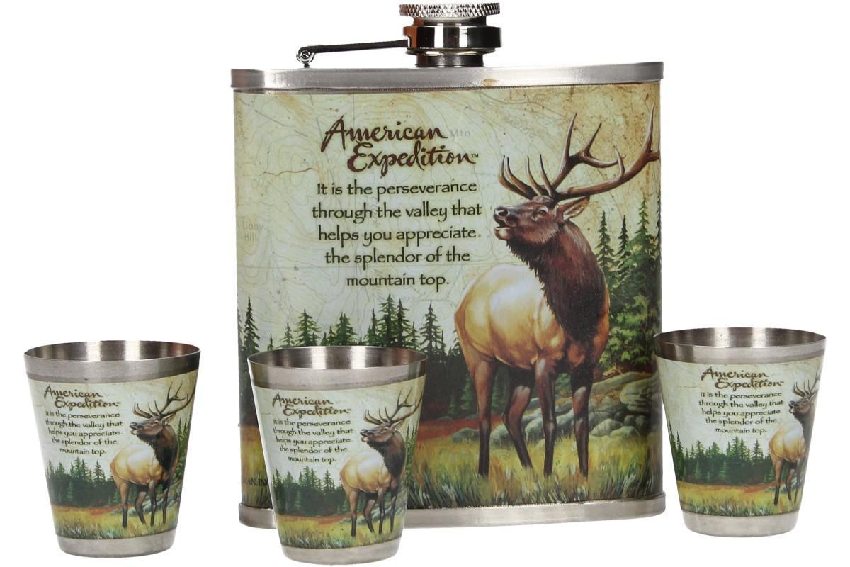 Foto 1 - Dárková sada placatka s jelenem v designu KNIHA je vhodná nejen jako vkusný dárek pro myslivce, hajné ale pro všechny ty, kdo rád chodí do lesa nebo pije alkohol v knihovně :-)
