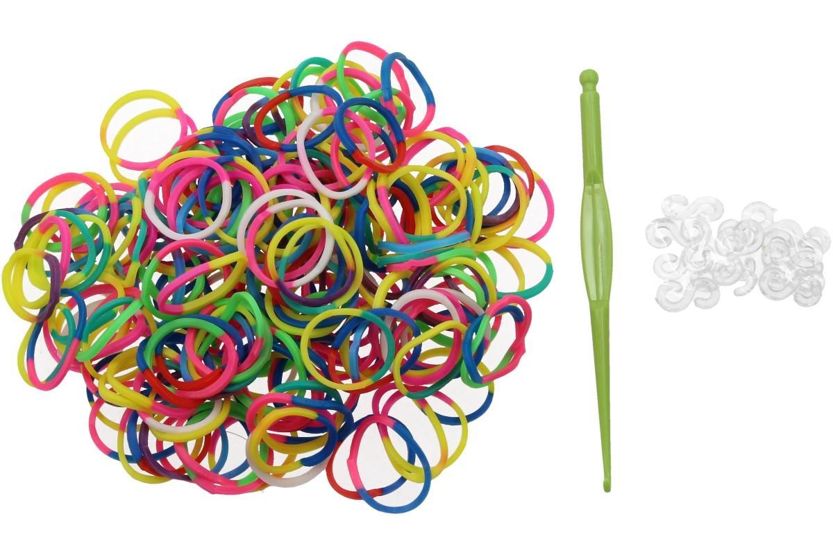 Foto 1 - Gumičky 200 ks - pro ruční pletení náramků. Nejnovější hit, balení obsahuje háček a cca 10 kusů spojek S.