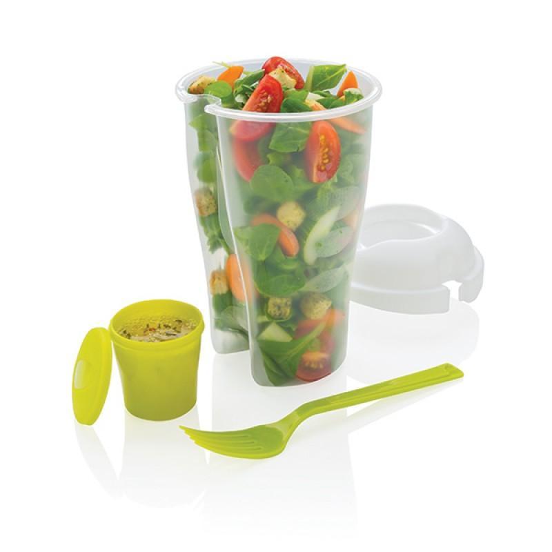 Foto 1 - Dóza na salát - Praktická plastová dóza s vidličkou a nádobou na dressing. Čerstvý salát kdykoli máte chuť!
