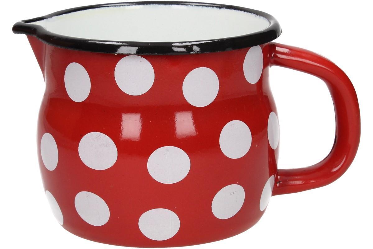 Foto 1 - Hrnek smalt červený puntík BELLY 10 CM - je vhodný pro ty, kdo má rád více čaje než v klasickém hrnku. Smaltovaná úprava zaručí dlouhou životnost.