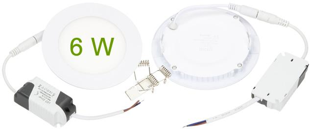 LED stropní panel zápustný 6W kulatý
