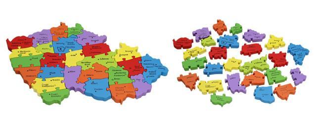 Dřevěné puzzle barevná mapa ČR 26 dílků