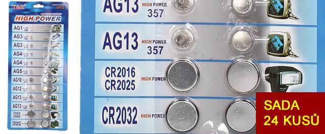 Sada knoflíkových baterií 24 kusů T.E.