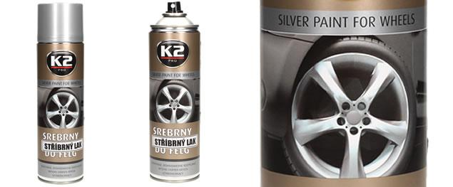 K2 stříbrný lak na disky kol ve spreji 500 ml