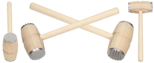 Palička na maso dřevěná s kovovým povrchem