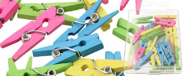 Dřevěné barevné mini kolíčky sada 25 kusů