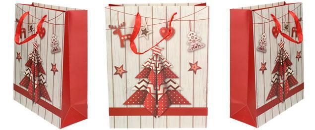 Vánoční dárková taška stromeček 32x26 cm