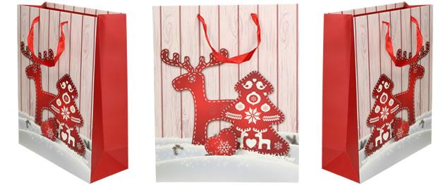 Vánoční dárková taška se sobem 32x26 cm