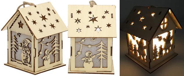 Svíticí Vánoční chaloupka dřevěná střední