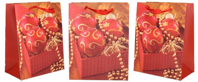Dárková vánoční taška červené ozdoby 23x18 cm