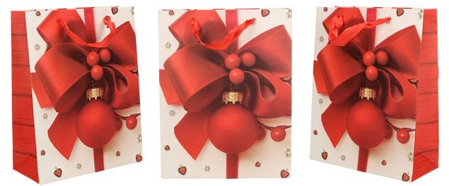 Dárková vánoční taška červená mašle 23x18 cm