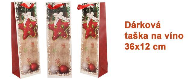 Dárková vánoční taška na víno hvězda 36x12 cm