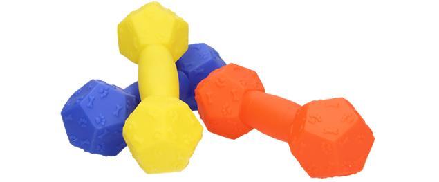 Pískací hračka pro psa ve tvaru činky