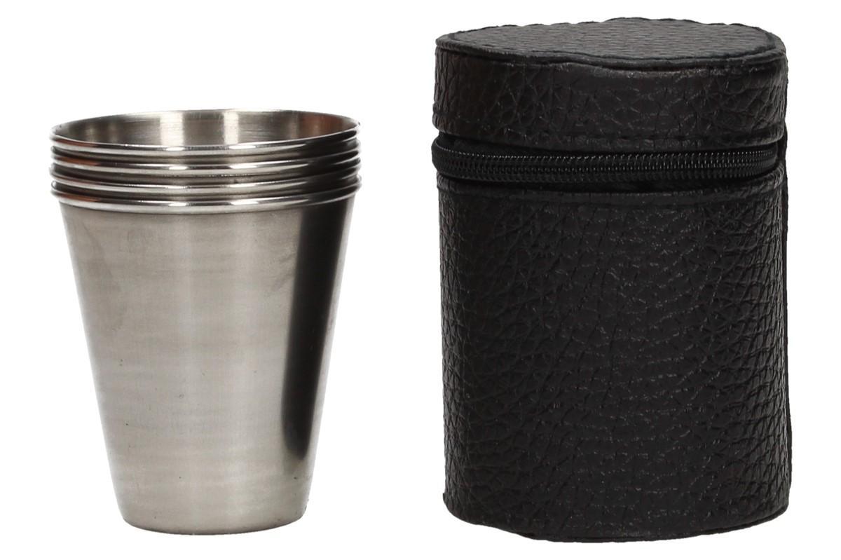 Foto 8 - Malé kovové nerez panáky na alkohol 6x5 cm 4 kusy