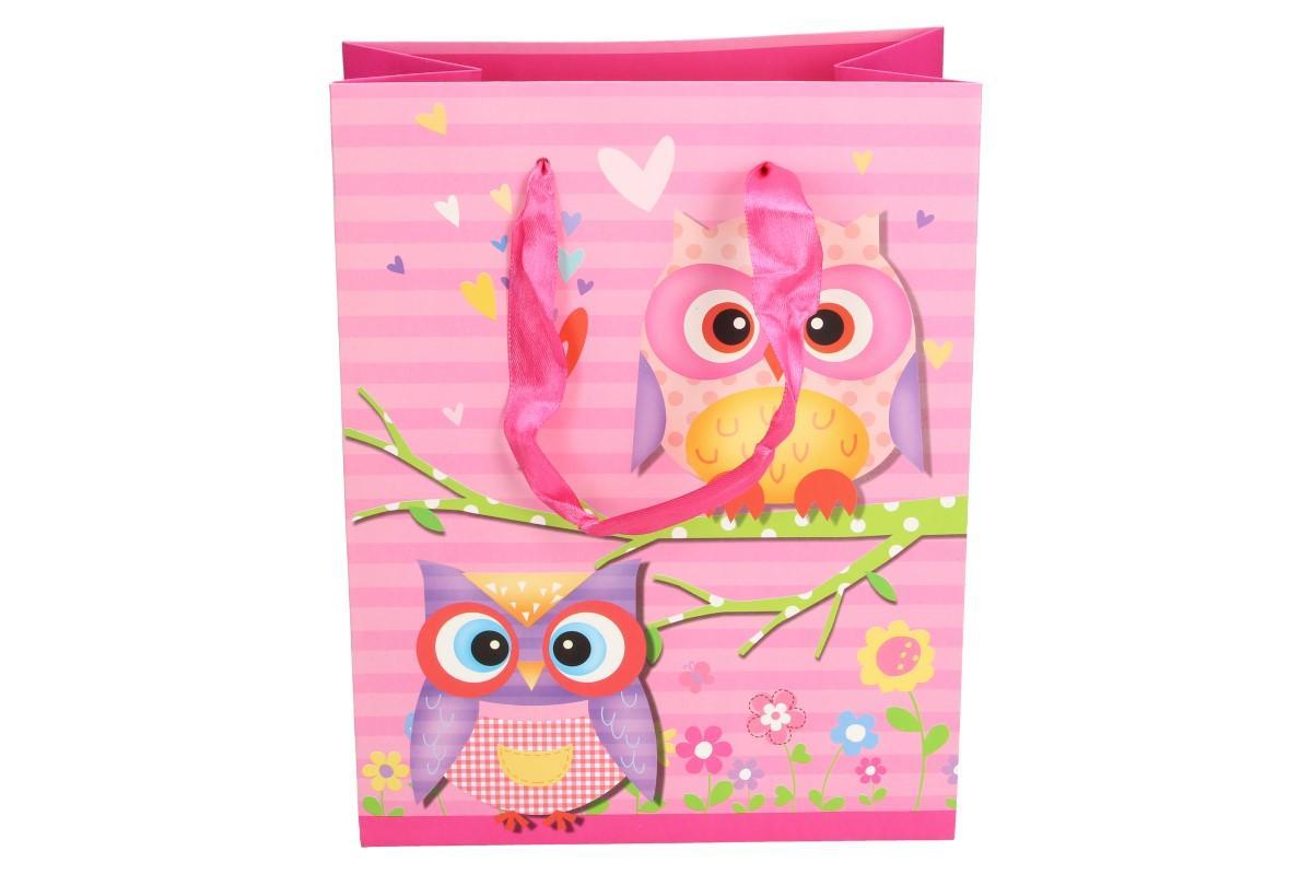 Foto 5 - Dárková taška růžová sova 22x17 cm