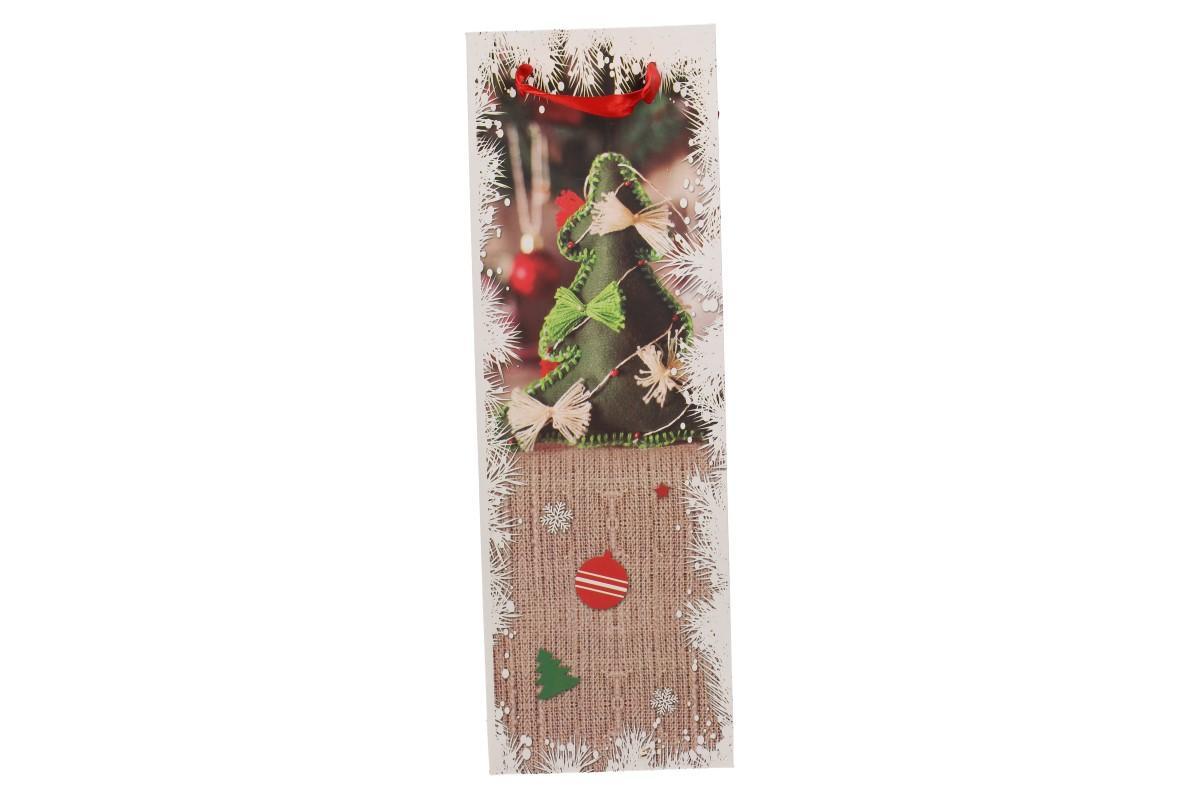 Foto 7 - Dárková vánoční taška na víno stromek 36x12 cm