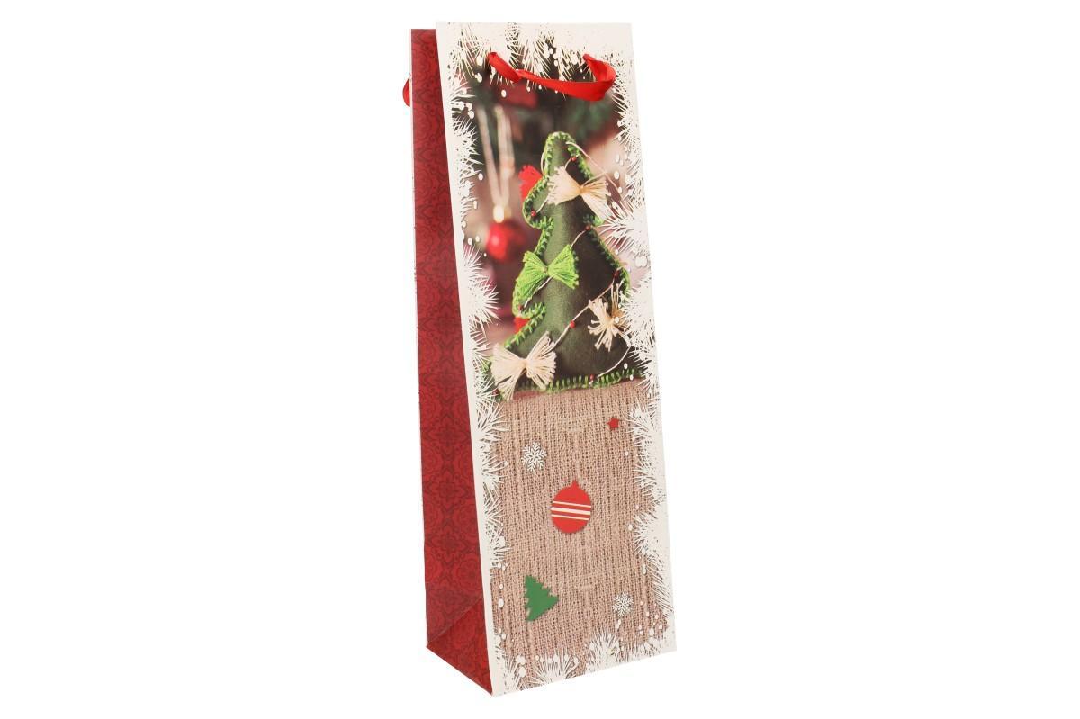Foto 8 - Dárková vánoční taška na víno stromek 36x12 cm
