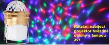 Rotační nabíjecí projektor hvězdné oblohy s lampou 3v1