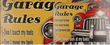 Plechová cedule Garage Rules (25x33 cm)