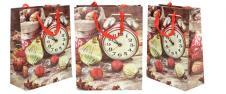 Dárková vánoční taška hodiny 23x18 cm.