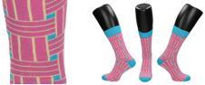 Ponožky růžovo - modré kostičky