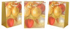 Dárková vánoční taška červeno-zlaté ozdoby 23x18 cm