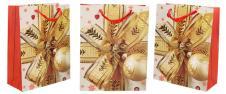 Dárková vánoční taška zlatá mašle 23x18 cm