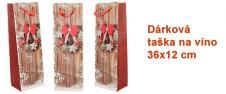 Dárková vánoční taška na víno věnec 36x12 cm