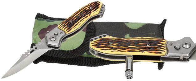 Vystřelovací kapesní nůž žlutohnědý