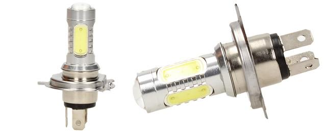 LED COB žárovka H4 6500K denní studené světlo