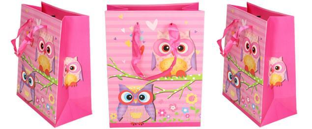 Dárková taška růžová sova 22x17 cm