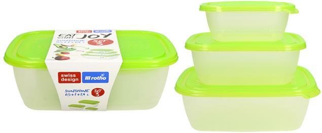 Sunshine sada boxů na potraviny 3 kusy zelené