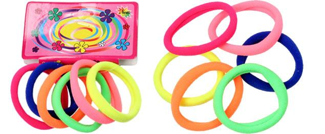 Pevné barevné gumičky do vlasů Sada 6 kusů
