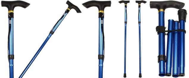 Kovová skládací hůl na chození modrá