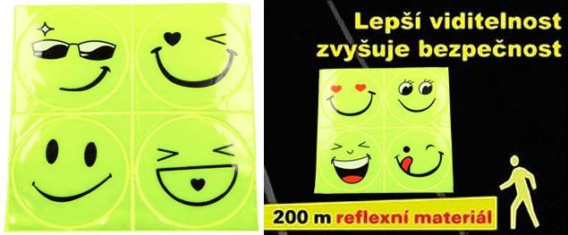 Reflexní samolepky smajlíci Sada 4 kusy