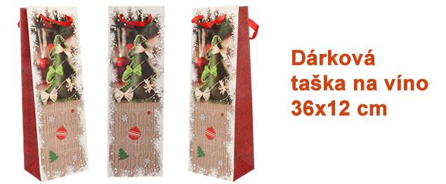 Dárková vánoční taška na víno stromek 36x12 cm