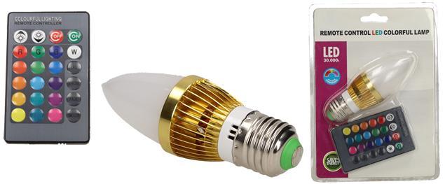 LED úsporná žárovka RGB na dálkové ovládání 3W
